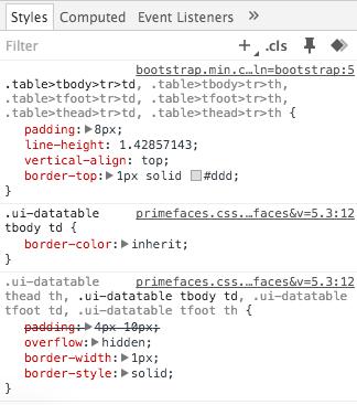 PrimeFaces e Bootstrap: inspeção no CSS